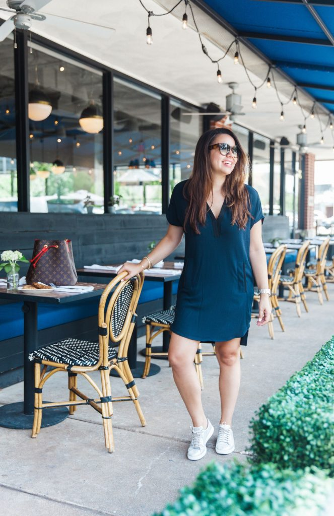 V-neck crepe shift dress and sneakers