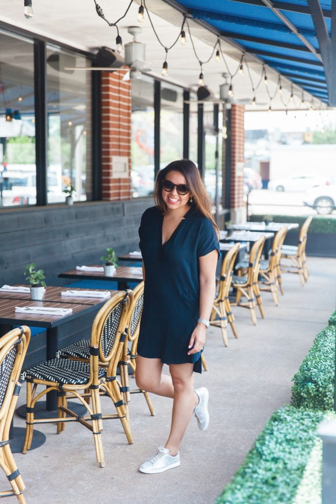 summer shift dress and metallic sneakers