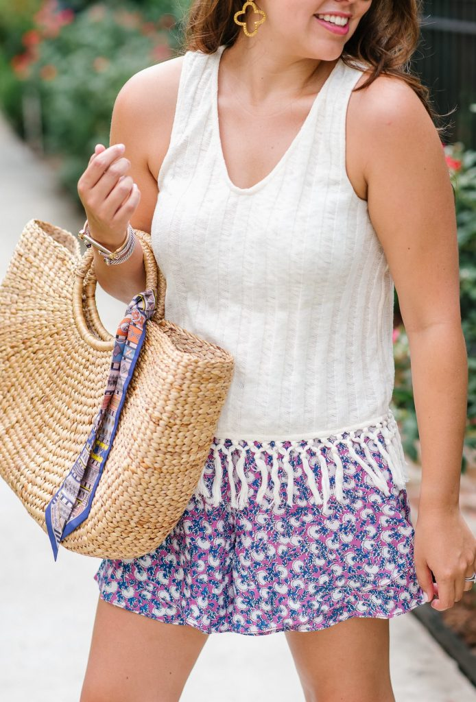 fringe tank and printed flowy shorts