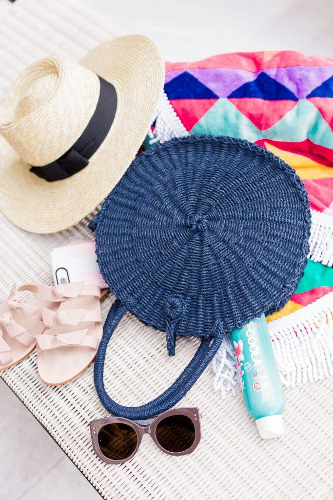 Hat Attack round straw summer bag