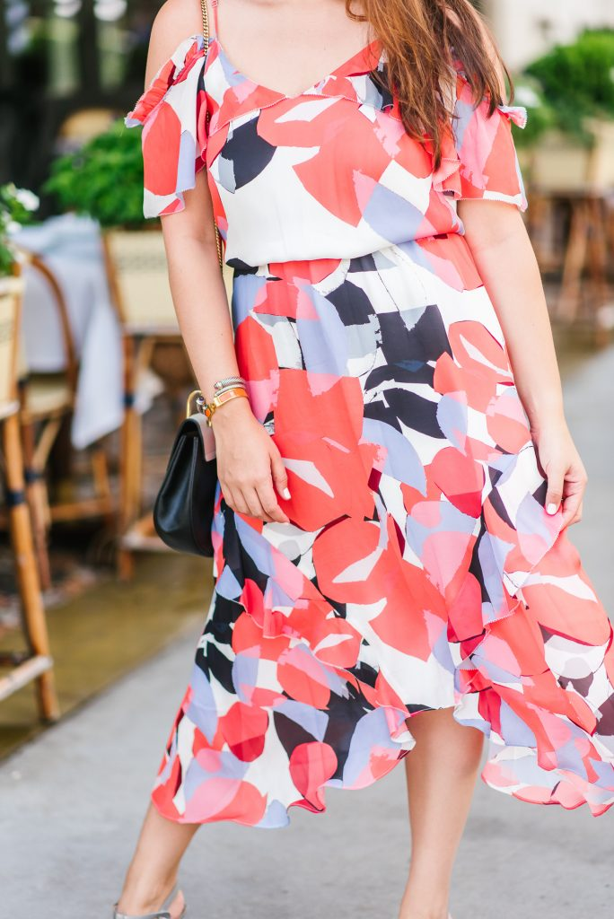 printed chiffon midi dress | Adored by Alex