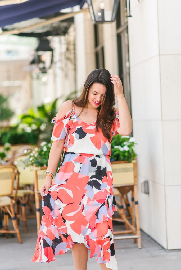 cold shoulder printed midi dress | Adored by Alex