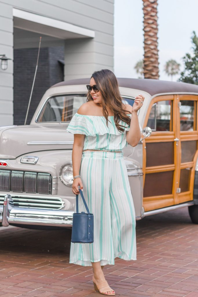 Striped two-piece set, Eberjey cover-up   Adored by Alex