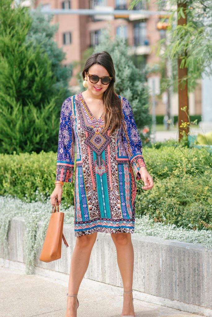 Jersey printed dress for fall | Adored by Alex