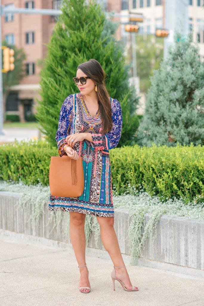 fall printed jersey dress, leopard print dress