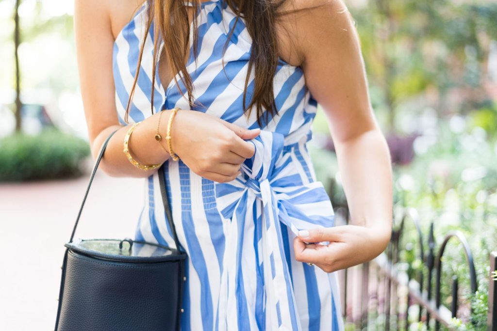 striped halter dress and bucket bag purse