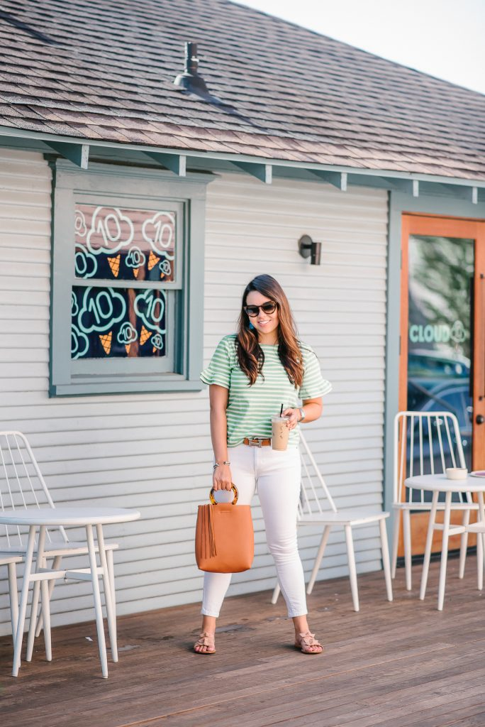 White jeans after Labor Day outfit | Adored by Alex