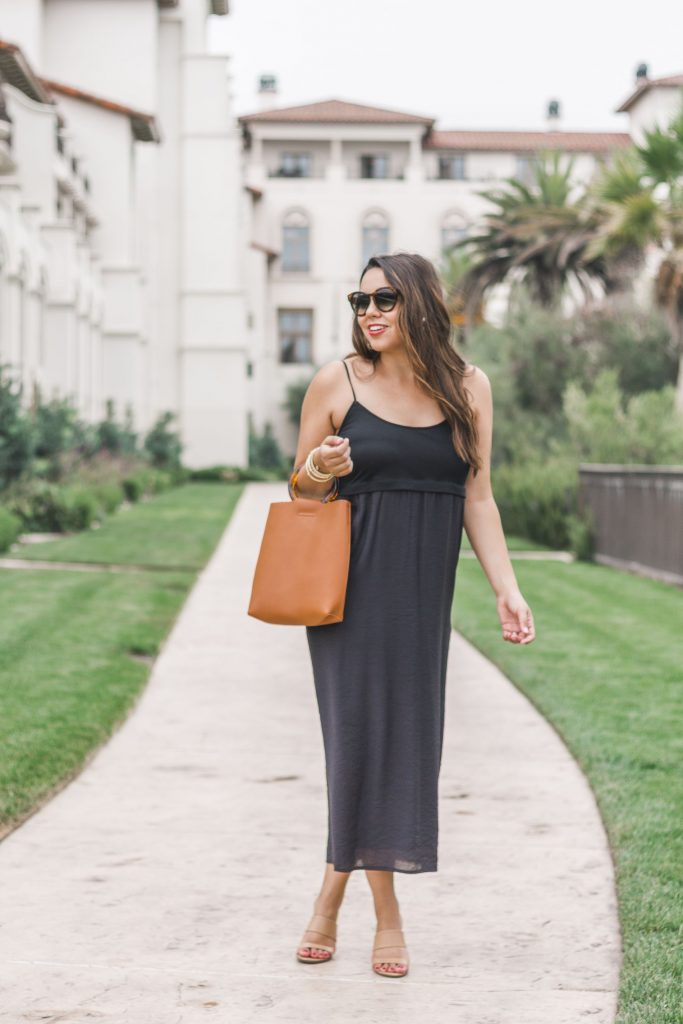 spaghetti strap black midi dress