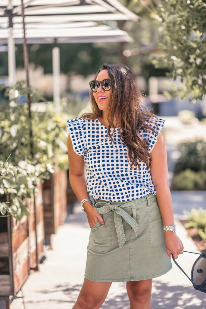 ruffle sleeve windowpane print top