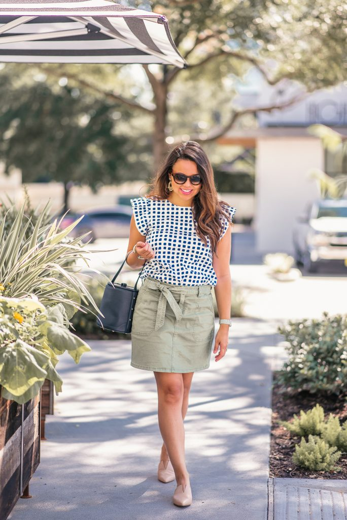 tie-waist fatigue green skirt