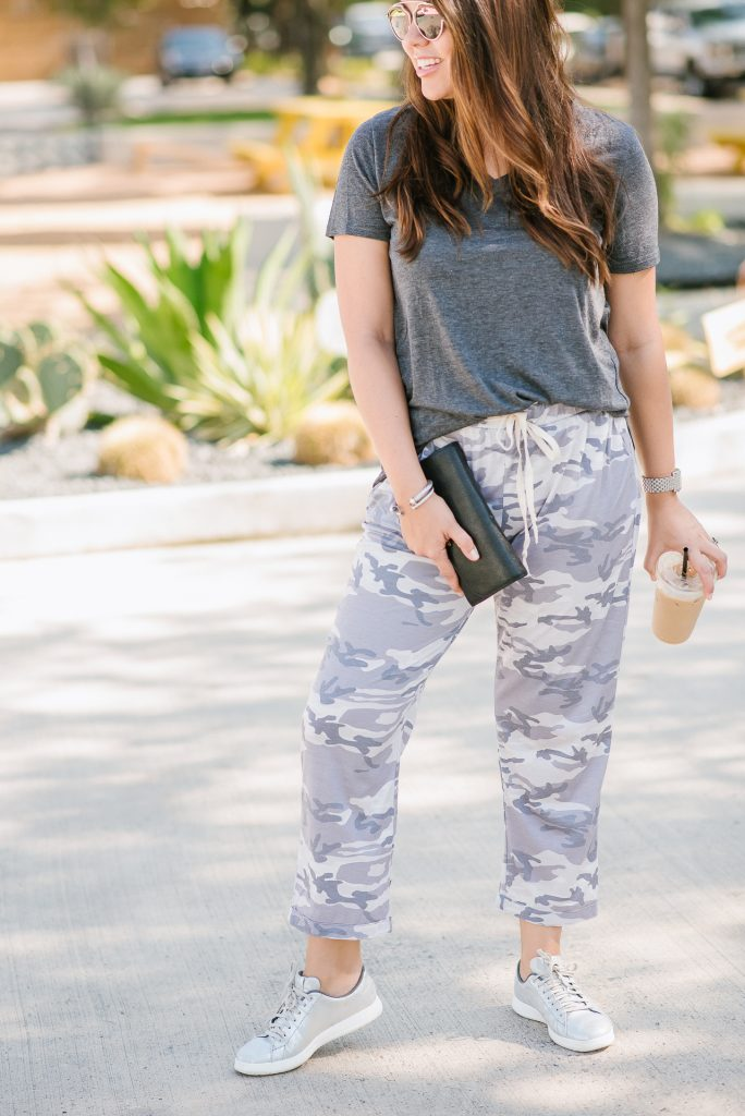 Styling camo pants, cozy lounge pants
