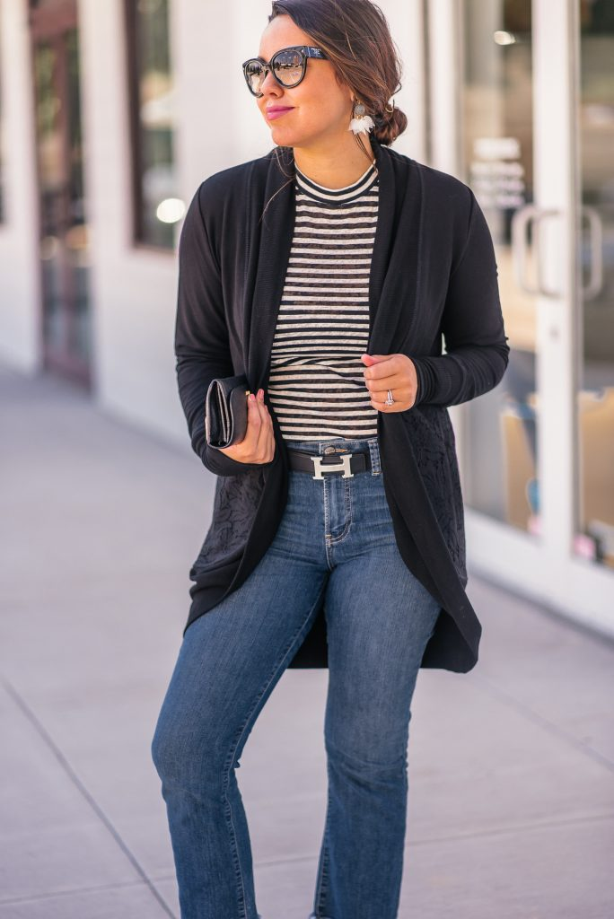 cocoon sweater and mockneck striped tee