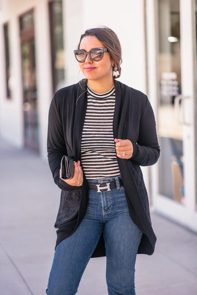 striped mockneck top and denim