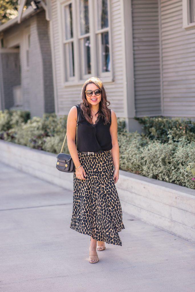 A-line leopard print skirt