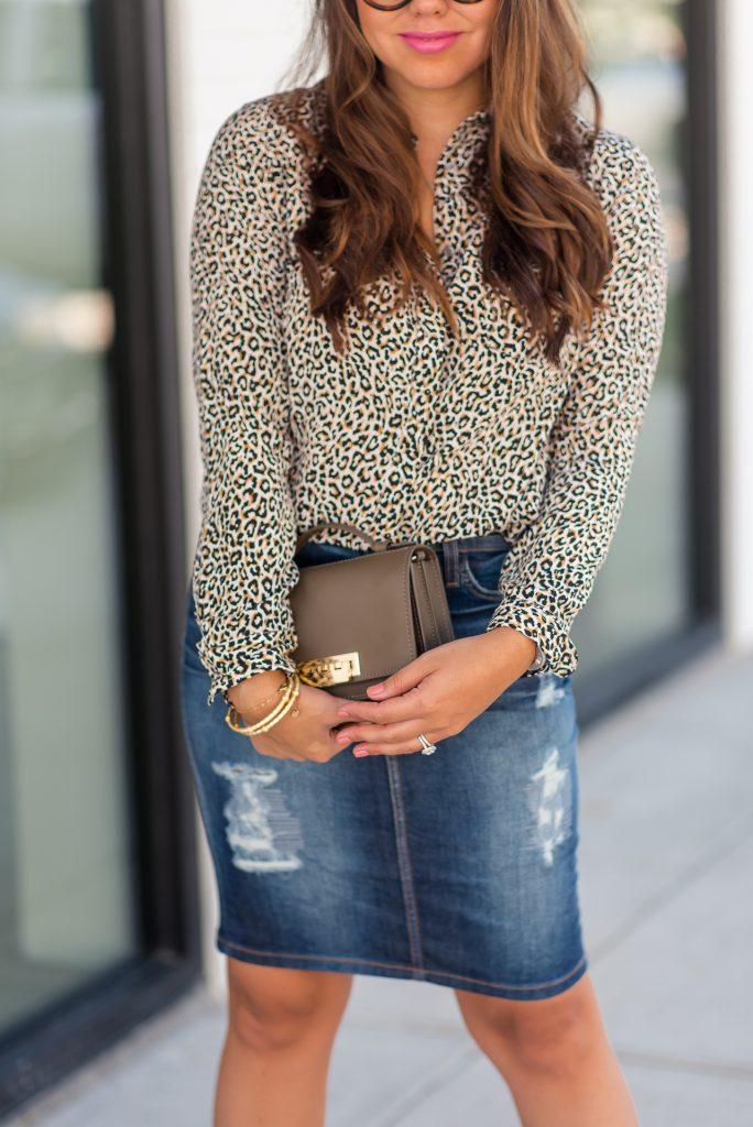 distressed denim skirt and leopard print