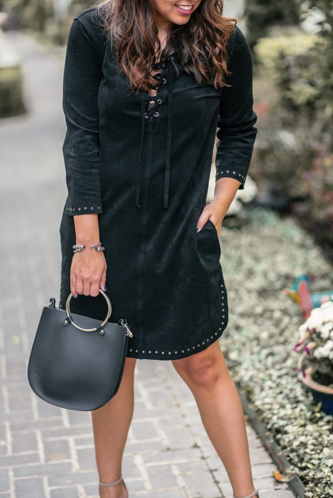 Easy fall outfit idea, date night dress via ThredUp