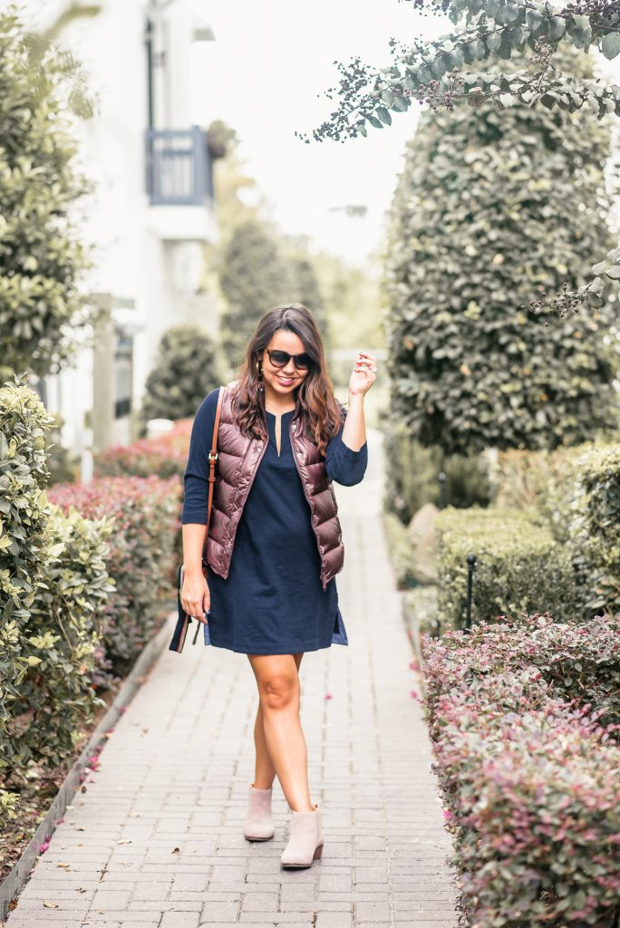 Navy shirt dress, puffer vest for fall and winter