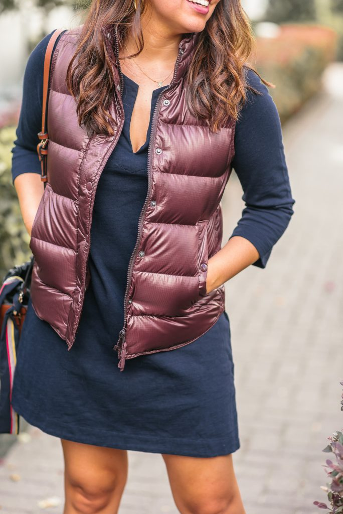 Maroon puffer vest for fall
