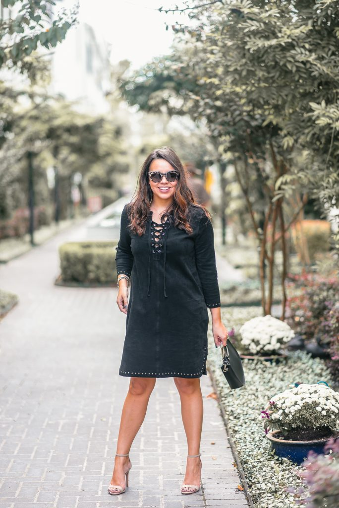 Suede dress for fall via ThredUp