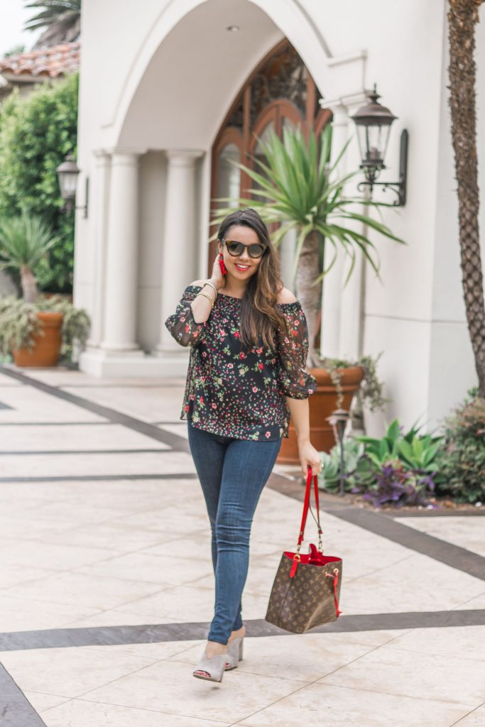 Bailey 44 floral off the shoulder top