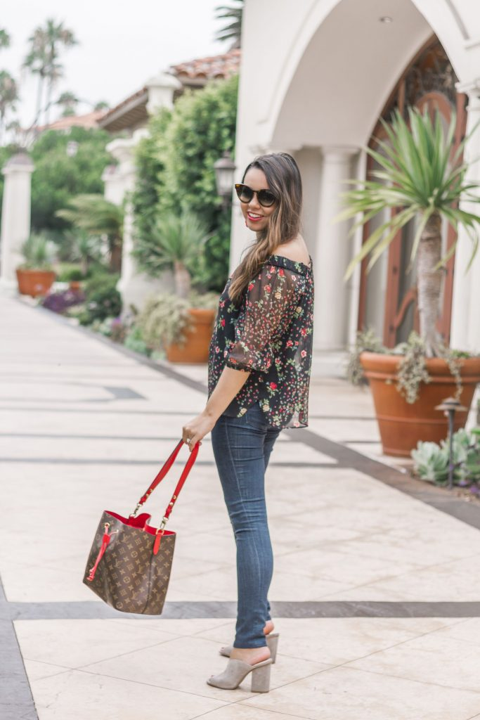 sheer floral top for fall