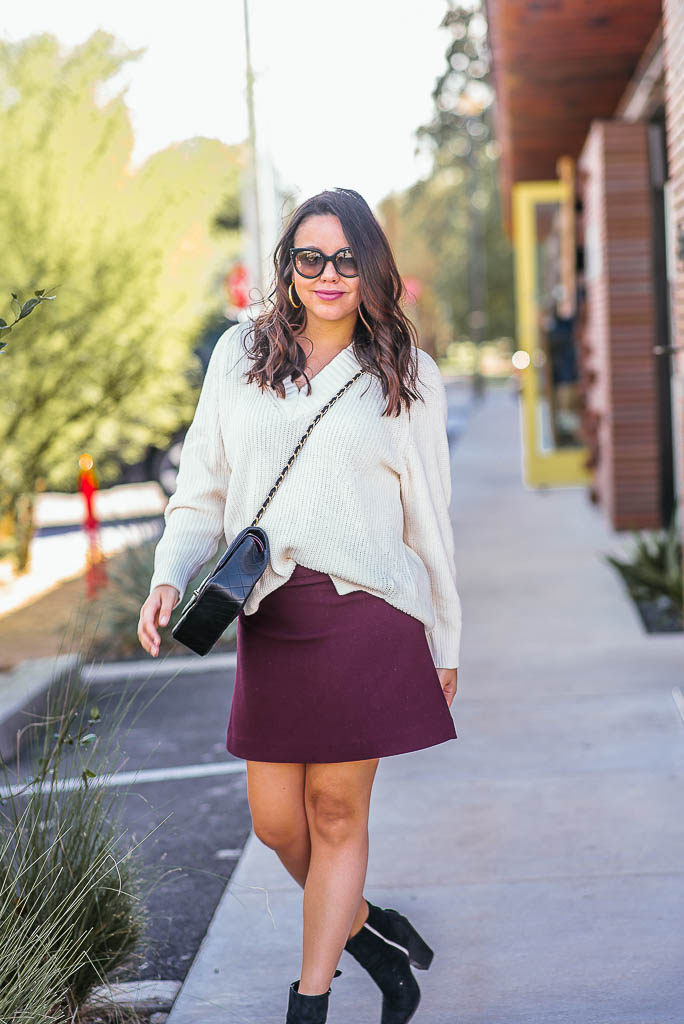 maroon mini skirt with booties