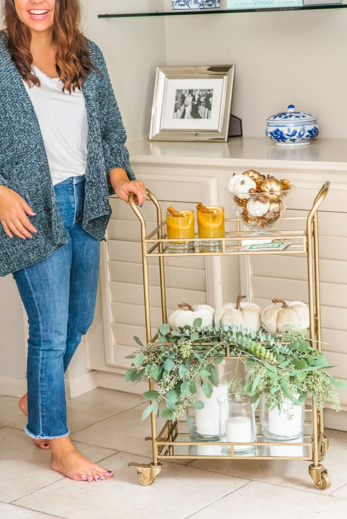 neutral fall bar cart decor | Adored by Alex