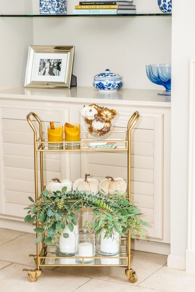 Easy fall decor for bar cart, how to decorate a bar cart
