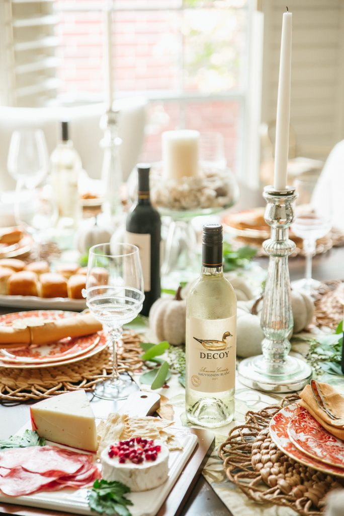 Thanksgiving dinner setup with Decoy wines
