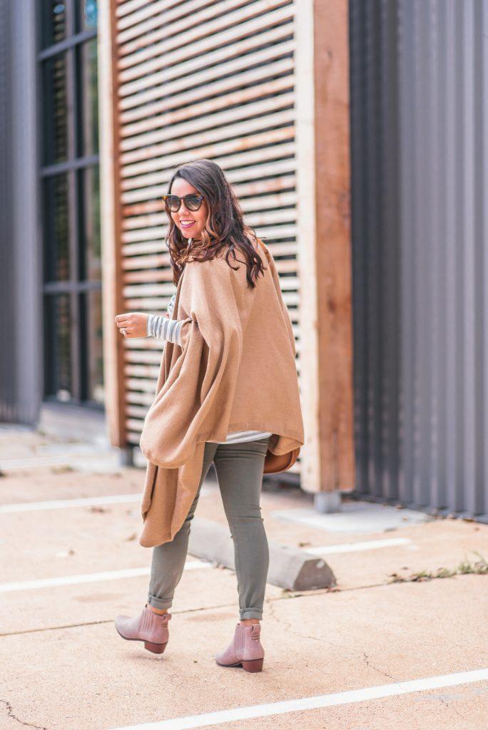 Cuyana Alpaca cape, Jack Rogers booties, Fall outfit idea