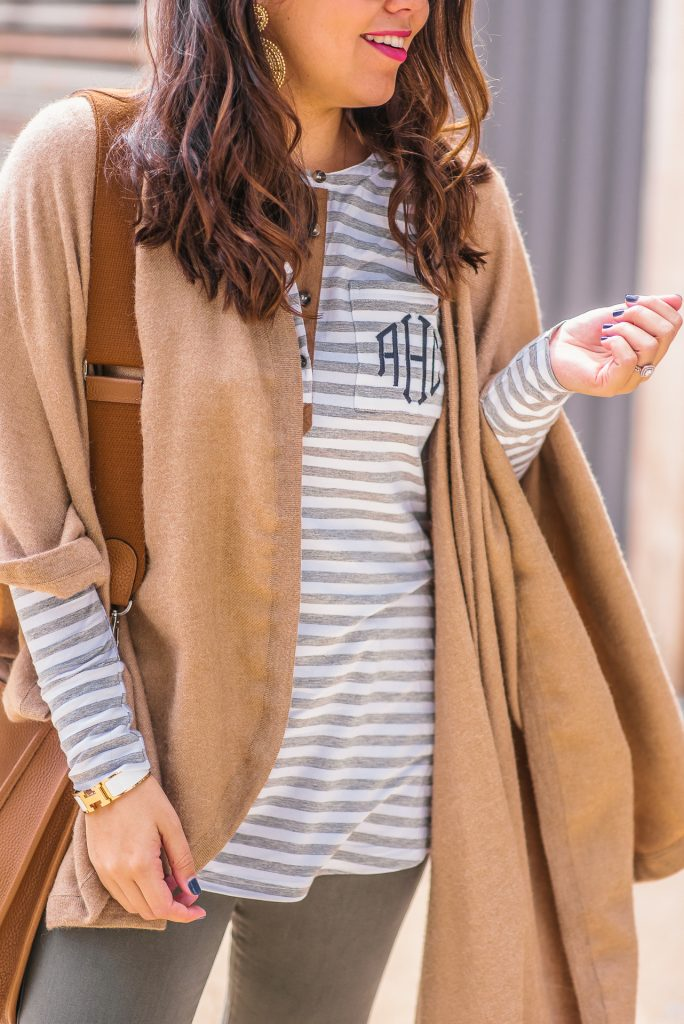 Monogram striped t-shrirt, Thanksgiving outfit idea