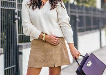 Side Slit Suede Miniskirt