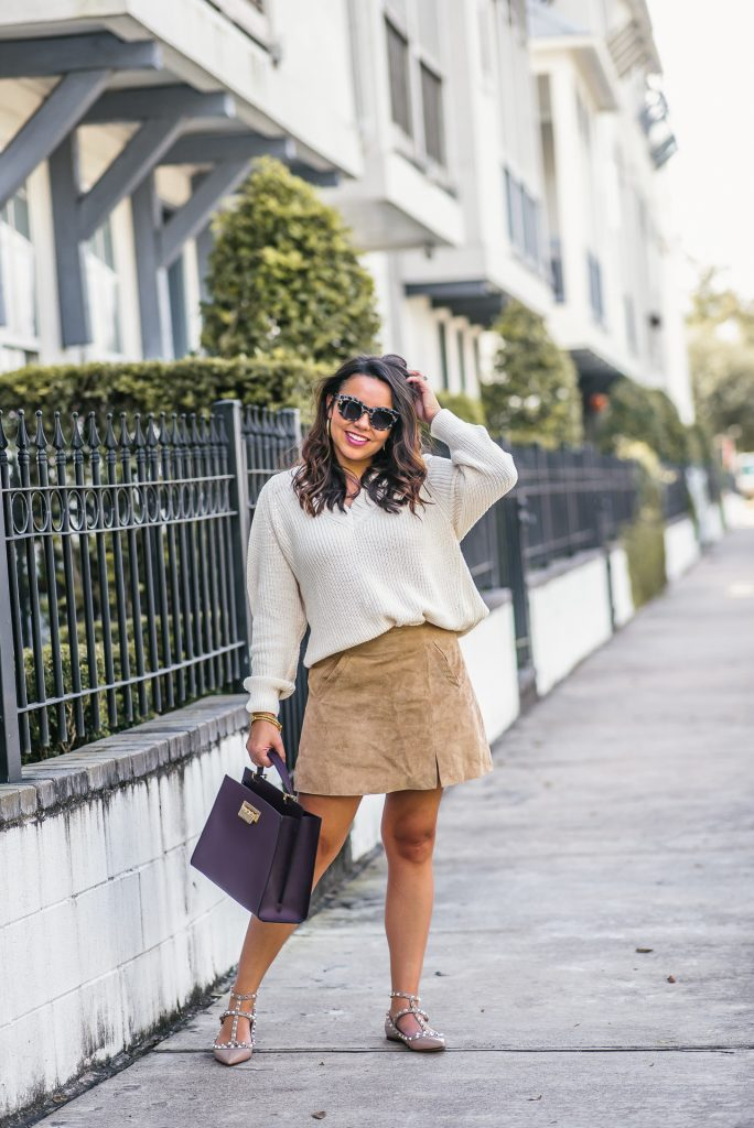 budget-friendly suede miniskirt
