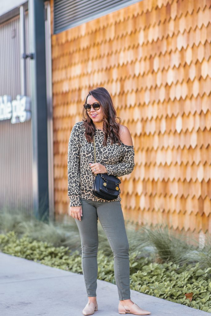 cutout leopard print sweatshirt