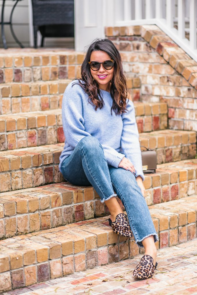 lavender sweaters, leopard flats