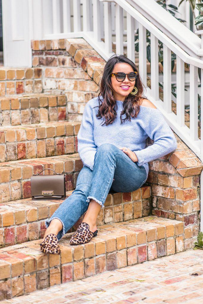 one shoulder lavender sweater