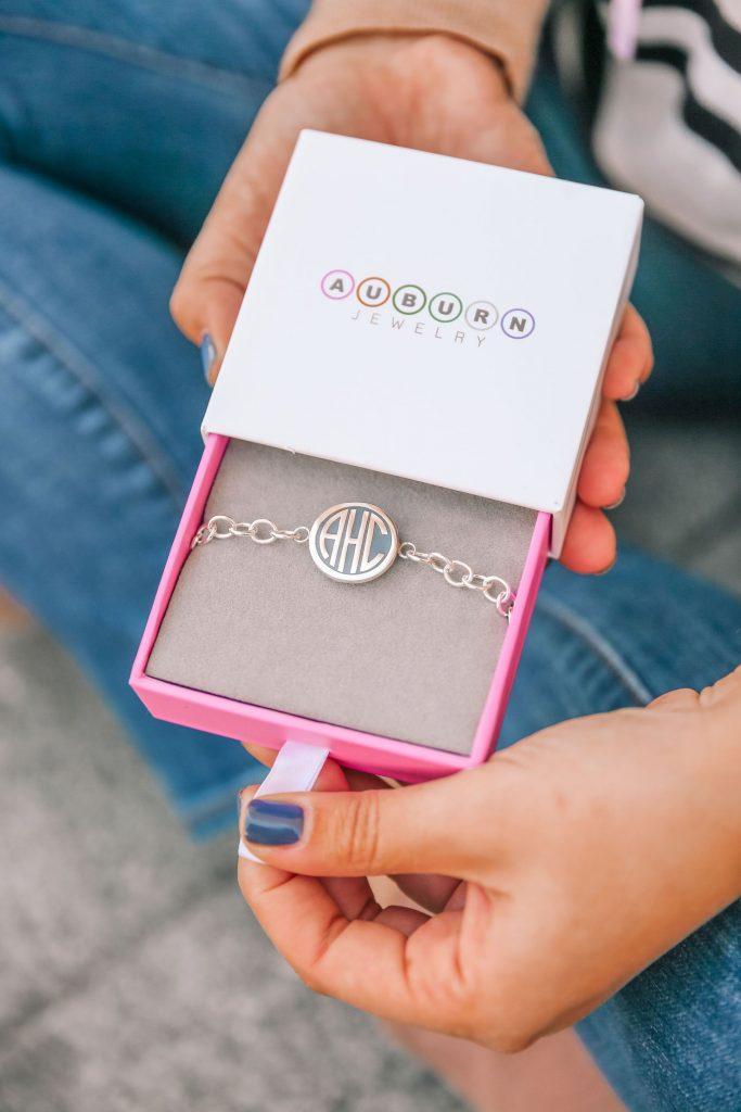 Auburn Jewelry monogrammed sterling silver bracelet