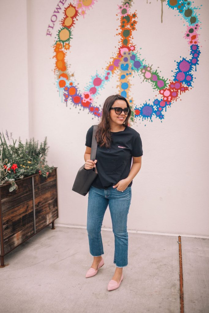 Brunette t-shirt, cropped denim outfit