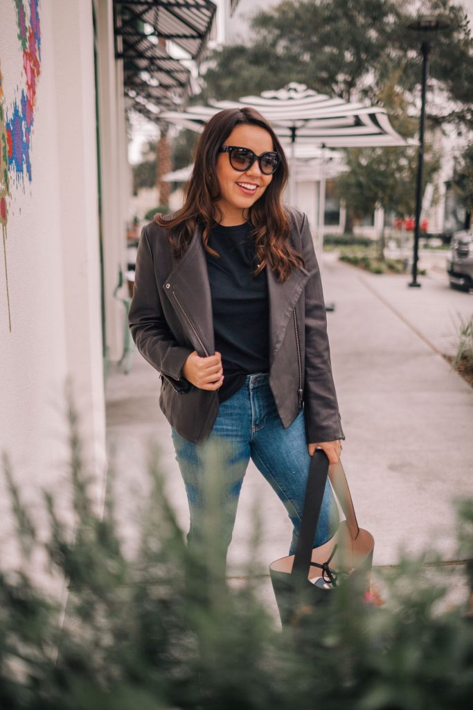 draped leather jacket for fall and winter