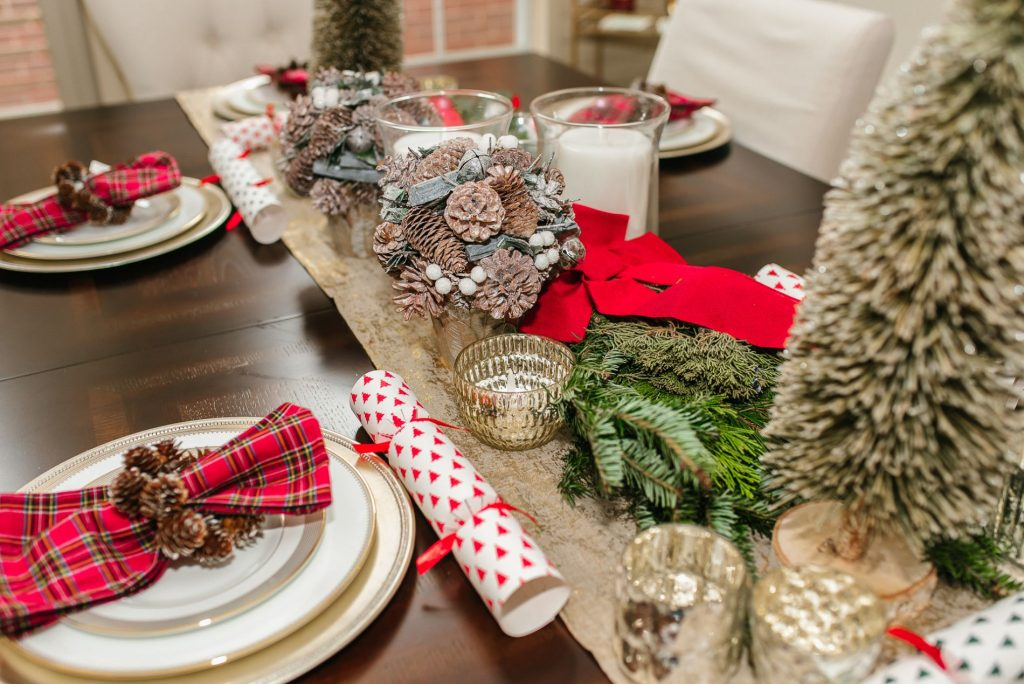 Subtle Christmas dining room tablescape