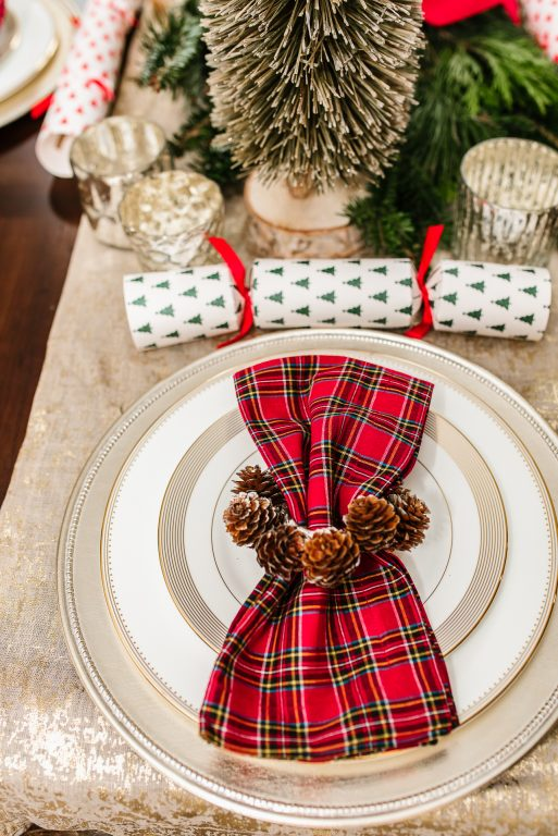 Plaid Pottery Barn Christmas napkins