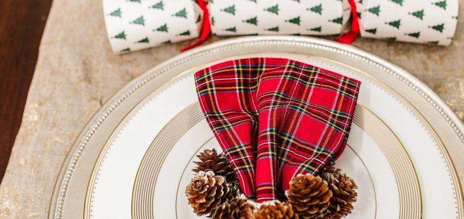 Plaid Pottery Barn Christmas napkins