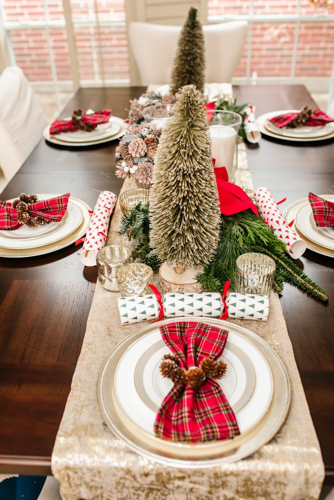 Bottle brush Christmas trees, holiday dining room table | Adored by Alex