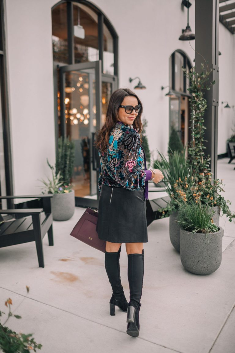Over the knee suede Stuart Weitzman boots and leather skirt