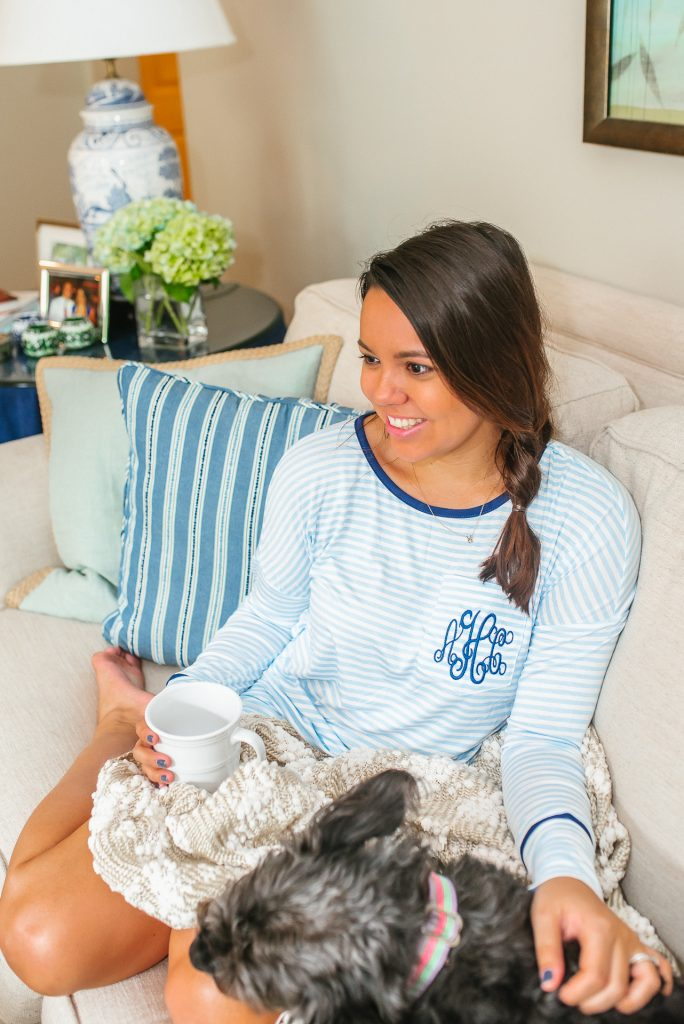 Monogrammed pajama set at home