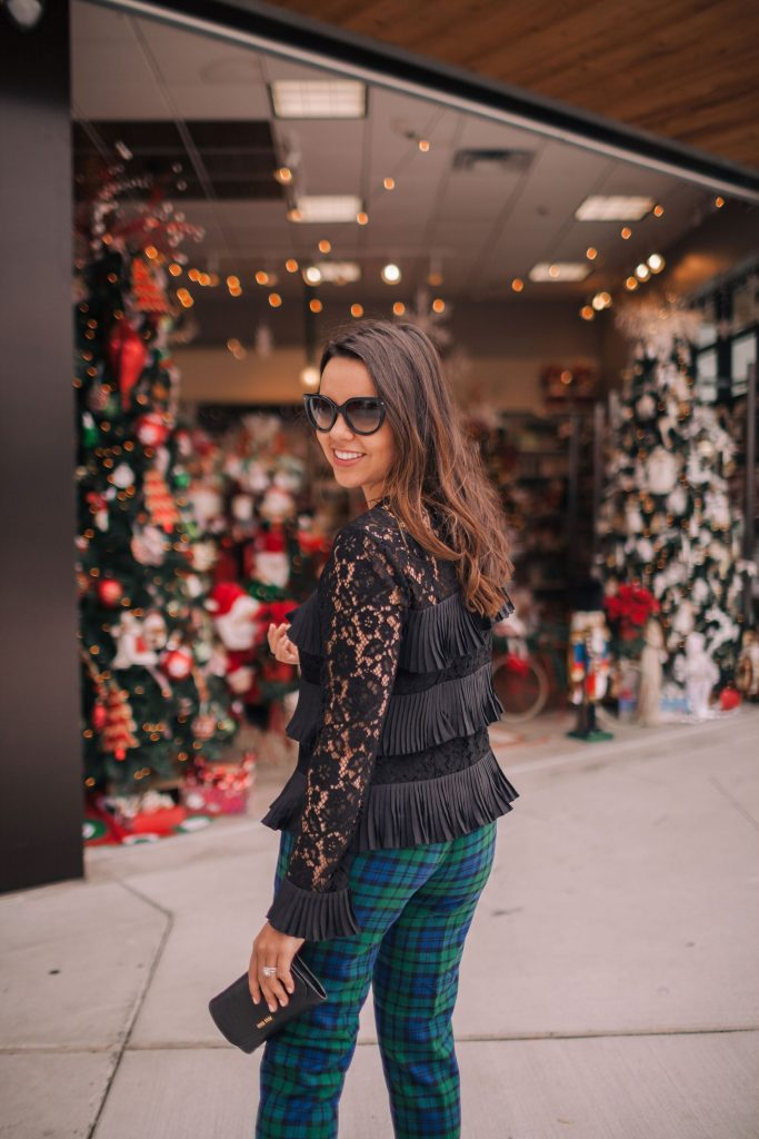 Holiday outfit idea, plaid pants