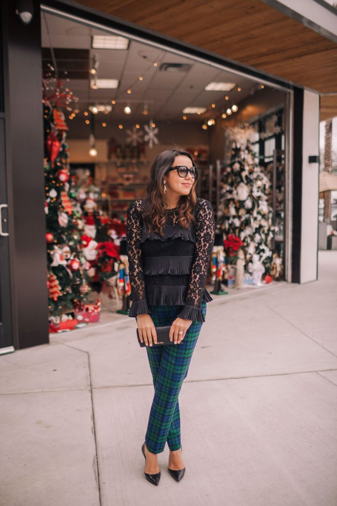 Holiday party outfit idea, plaid pants and lace top