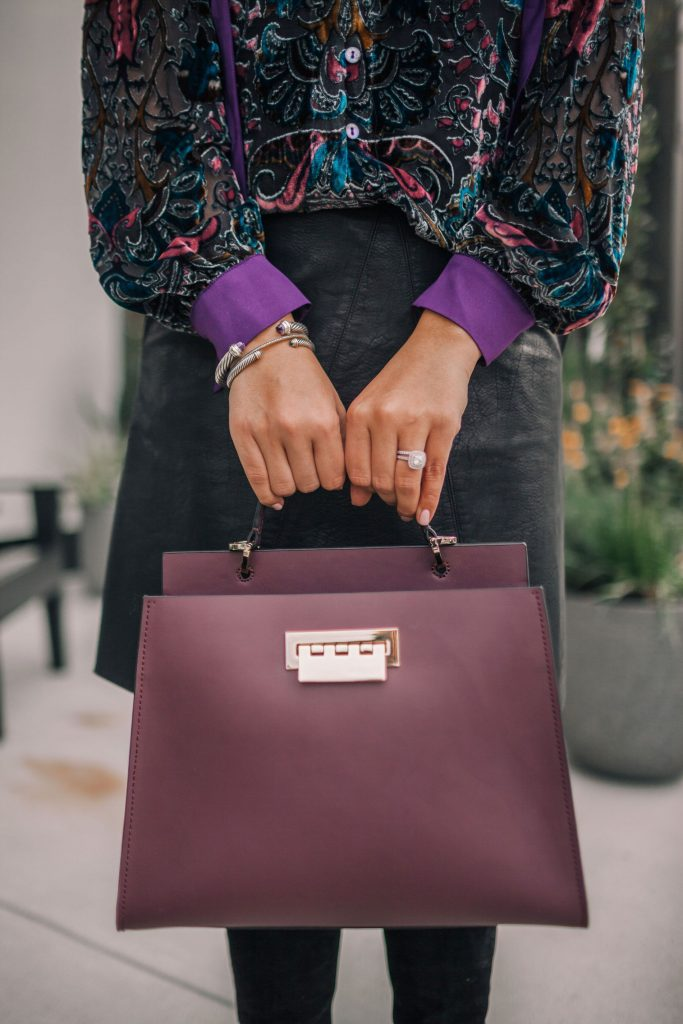Double compartment cranberry satchel purse