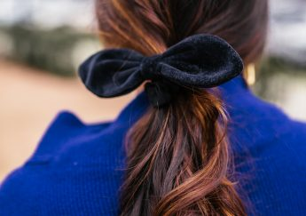 Velvet hair bow, brunette balayage