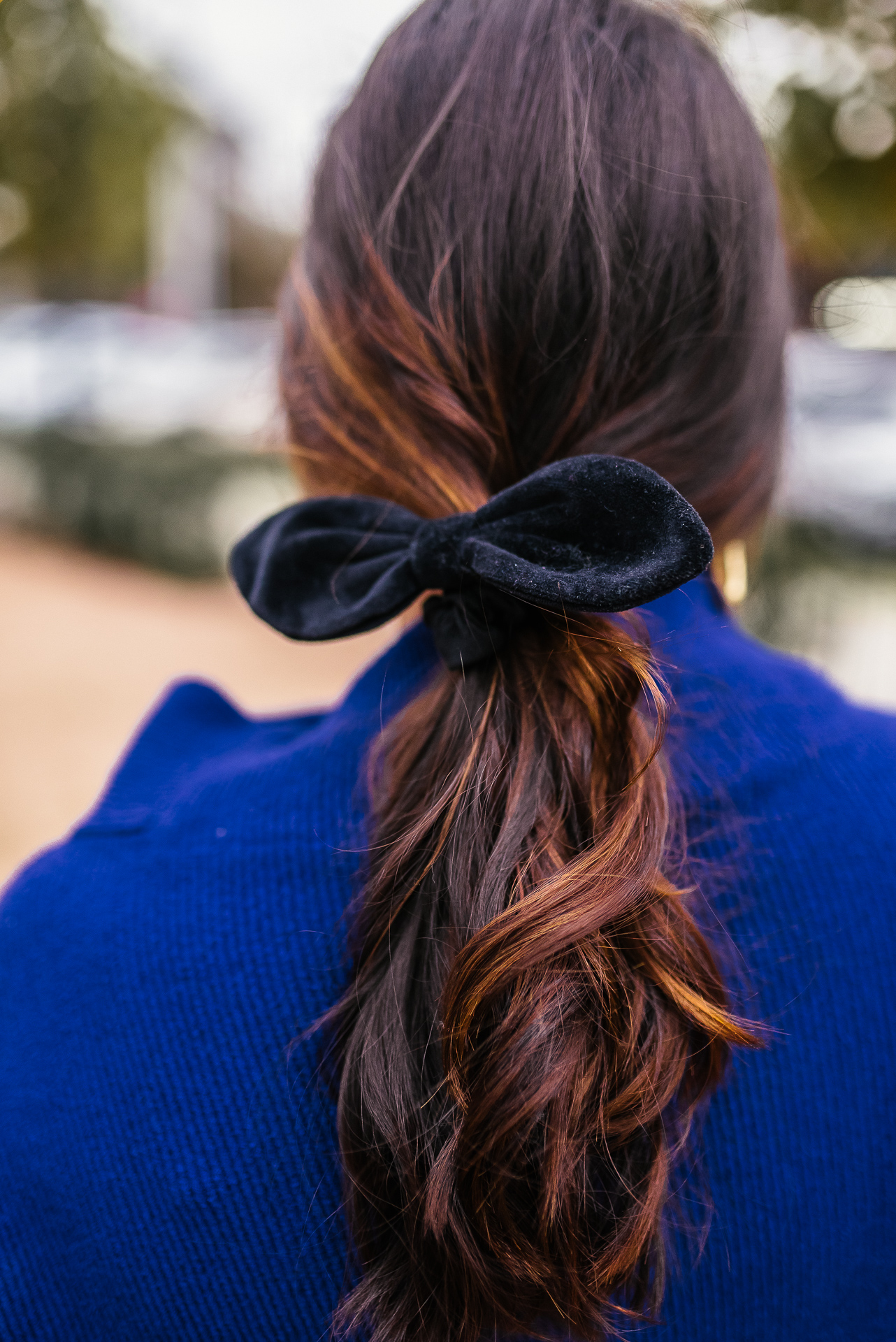Velvet hair bow, brunette balayage